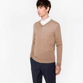 Paul Smith Men's Taupe Merino Wool V-Neck Sweater