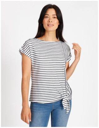 Regatta Short Sleeve Tee With Horizontal With Vertical Stripes & Tie