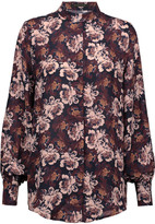 Mother of Pearl Temple floral-print silk crepe de chine blouse