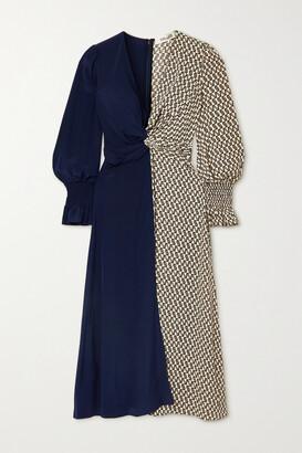 Diane von Furstenberg - Michelle Knotted Paneled Silk Crepe De Chine Midi Dress - Black
