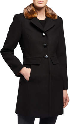 Kate Spade single-breasted coat with leopard faux-fur collar