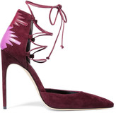 Brian Atwood Maka lace-up leather-paneled suede pumps