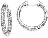 IceCarats® Designer Jewelry 14K White Gold Diamond 20Mm Hinged Hoop Earrings