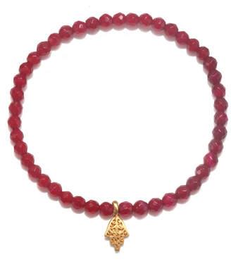 Satya Jewelry Fuchsia Agate Gold Hamsa Stretch Bracelet