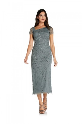 Adrianna Papell Beaded Gown With Short Sleeves In Green Granite
