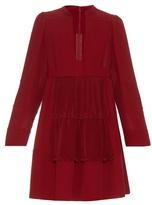 Valentino Open neck silk-georgette dress
