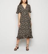 New Look Floral Ruffle Trim Wrap Midi Dress
