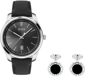 BOSS Men's Cufflink & Circuit Black Leather Strap Boxed Watch 42mm Gift Set