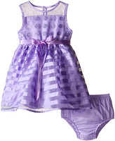 Us Angels Striped Organza Dot Mesh Sleeveless Illusion Dress (Infant)