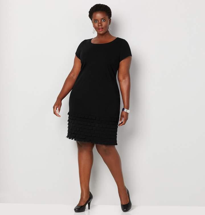 Plus Size Lazer Cut Fringe Sheath Dress