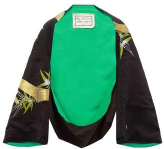 By Walid Fatma Embroidered Chinese Silk Kimono Style Jacket - Womens - Green Multi