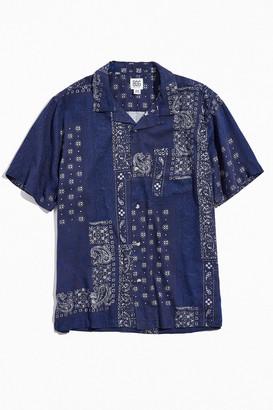 BDG Bandana Print Linen Short Sleeve Button-Down Shirt