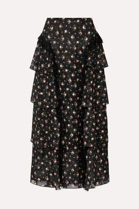 Anna Sui Lace-trimmed Tiered Floral-print Devoré-georgette Skirt - Black