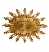 Rejuvenation Gilt Bronze Oval Sunburst Flush Mount by E.F. Caldwell