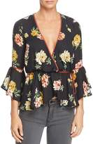June & Hudson Floral Wrap Top