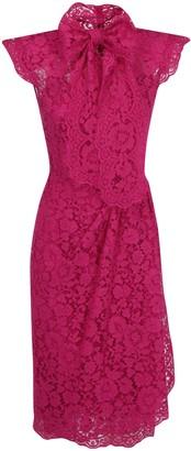 Dolce & Gabbana Pussybow Lace Midi Dress