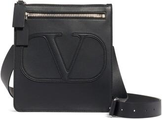 Valentino Small V-Logo Calfskin Leather Messenger Bag