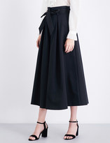 Temperley London Blueberry cropped high-rise stretch-cotton culottes