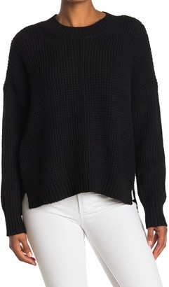 Sweet Romeo Seam Front Waffle Pullover Sweater