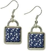 Made On Terra Denim Flowers Dangling Drop Square Charm Earrings