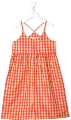 Tiny Cottons Embroidered Logo Check Dress
