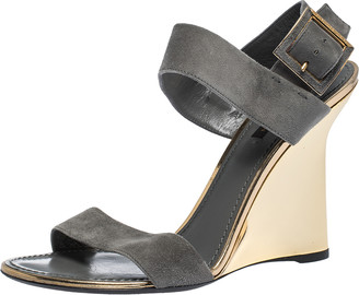 Louis Vuitton Grey Suede Wedge Ankle Strap Sandals Size 40