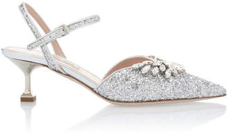 Miu Miu Embellished Glitter Kitten Heels Size: 36