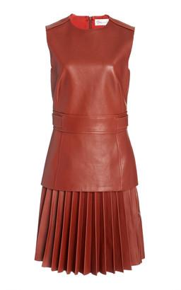 Oscar de la Renta Pleated Drop-Waist Leather Dress