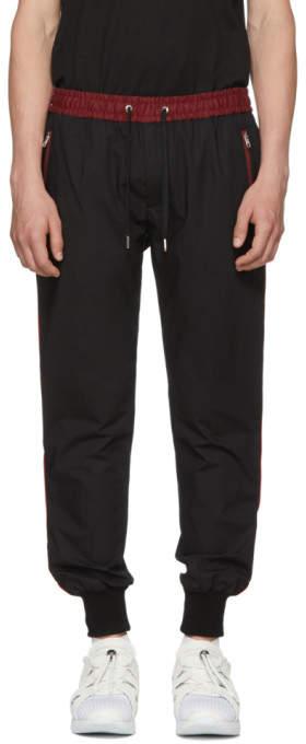 Dolce & Gabbana Black and Red Stripe Cuff Trousers