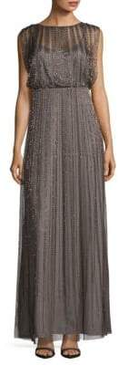 Adrianna Papell Sequined Striped Silk Dress