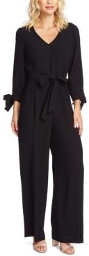 CeCe Tie-Sleeve Fit & Flare Crepe Jumpsuit