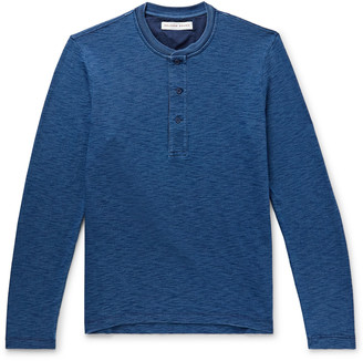 Orlebar Brown Arlo Slim-Fit Indigo-Dyed Melange Cotton-Jersey Henley T-Shirt