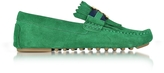 Tory Burch Gemini Link Emerald Stone Suede Driver Shoes