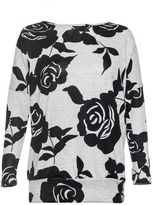 Quiz Grey And Black Rose Print Light Knit Top