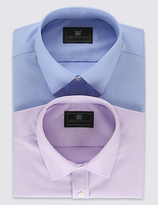 M&S Collection 2 Pack Cotton Rich Shirts with Pockets