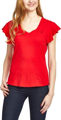 U.S. Polo Assn. Women's Tee Shirts RCRD - Racing Red Butterfly-Sleeve Tee - Women