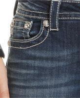 Miss Me Rhinestone-Embroidered Bootcut Jeans, Dark Wash