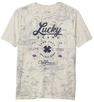 Lucky Brand Kids Lucky Palm Tee (Big Kids) (Oatmeal Heather) Boy's Clothing
