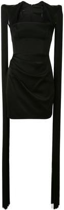 Alex Perry Alex fringed-shoulder satin mini dress