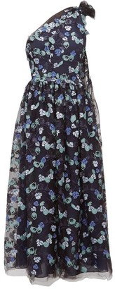 Luisa Beccaria One-shoulder Floral-sequinned Gown - Navy Multi