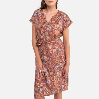 Anne Weyburn Mid-Length Shift Dress in Paisley Print