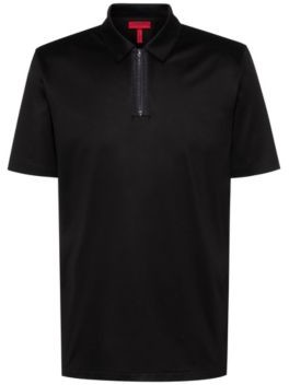 Slim-fit polo shirt with zip neck