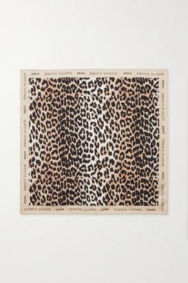 Ganni Leopard-print Silk Scarf - Leopard print