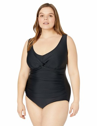 Maxine Of Hollywood Women's Plus-Size V-Neck Shirred Twist Front One Piece Swimsuit