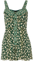 Anna Sui Printed Silk-georgette Playsuit - Green