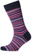 Pink Multi Fine Stripe Socks Size Large By Charles Tyrwhitt