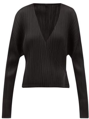 Pleats Please Issey Miyake Pleated Cropped Tie Waist Jacket - Womens - Black