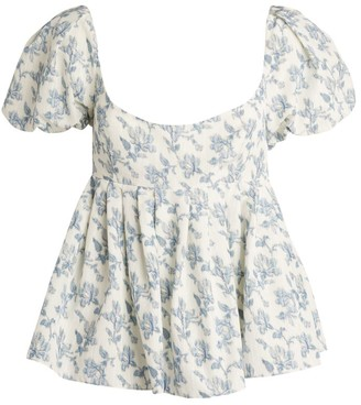 Brock Collection Quirk Floral Puff-Sleeved Top