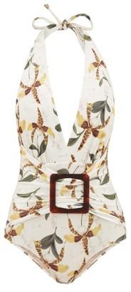 Adriana Degreas Halterneck Leopard Orchid-print Swimsuit - White Print