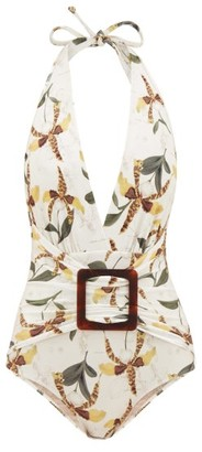 Adriana Degreas Halterneck Leopard Orchid-print Swimsuit - Womens - White Print
